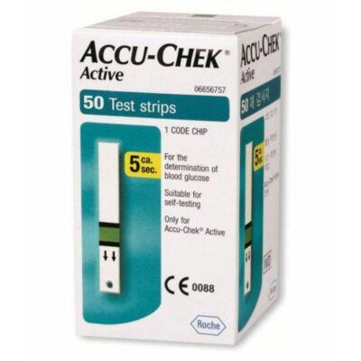Accu-Chek Active 50x tesztcsík az Accu-Chek Active vércukormérővel történő kvantitatív vércukorméréshez használandók friss kapilláris vérből.