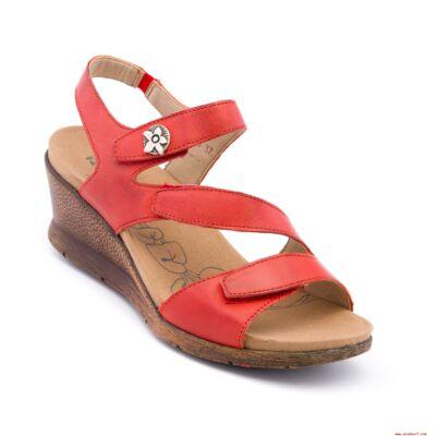 Romika Nevis 07 red női bőr kényelmi szandál bőr béléssel és felsőrésszel, három tépőzárral