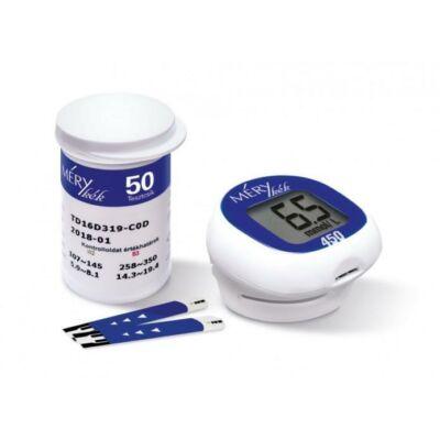 A MÉRY kék 450 vércukormérőkorszerű, bioszenzoros technológiával működő vércukorszintmérő készülék. Ennek a technológiának (és az elektrokémiai reakciónak) köszönhetően nagy pontossággal mér.