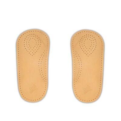 Dr. Batz 980 Wellness talpbetét perforált lélegző bőr felsőrésszel és hosszboltozat emelő rétegből álló luxus féltalpbetéttel, ütődést elnyelő sarokpárnákkal, keskeny és lapos orrú cipőkhöz