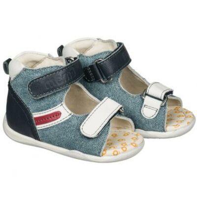 MEMO babacipő MIKI, jeans színű.  18-21-es méretekben kapható, egy tépőzáras; puha, rugalmas talpú zárt, unisex cipő a legkisebbeknek ahidegebb, esősebb napokra.