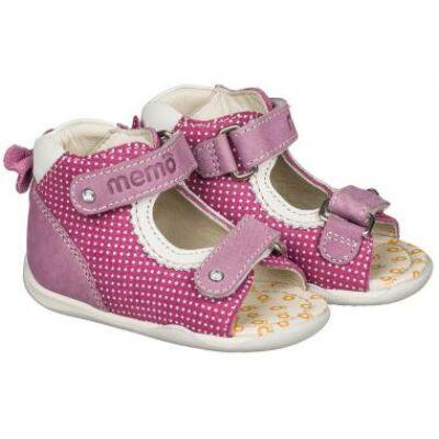 MEMO babacipő MINI, rózsaszín. 18-21-es méretekben kapható, két tépőzáras; puha, rugalmas talpú babacipő, divatos és nagyon csajos díszítőelemekkel.
