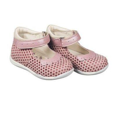 MEMO babacipő FIONA, rózsaszínben.  18-21-es méretekben kapható, egy tépőzáras; puha, rugalmas talpú zárt cipő a legkisebbeknek ahidegebb, esősebb napokra, polka pöttyös nubuk bőrből.