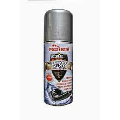 Pedibus Protector színtelen spray. Védi a cipőt és a ruházatot a nedvesség és az olajos szennyeződések ellen. Nubukra, velúrra, valódi és műbőrre valamint textilekhez.