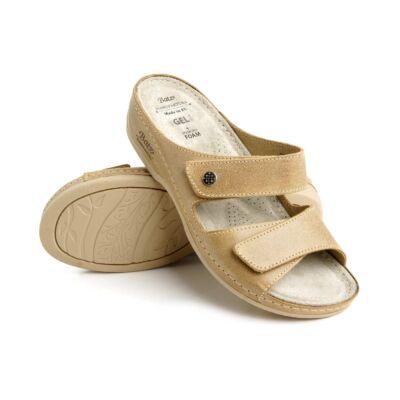 Batz FC06 női bőr gyógypapucs, puha zselés lábággyal, tépőzáras pánttal, csúszásmentes járófelülettel