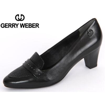 Gerry Weber Laura 01 black női magassarkú kényelmi félcipő, bőr felsőrésszel, bőr és tetxil béléssel