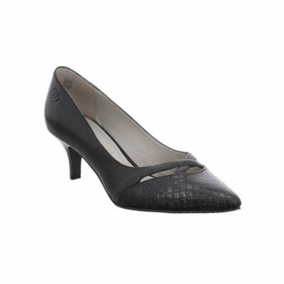 Gerry Weber Linette 02 black bőr női magassarkú kényelmi félcipő bőr felsőrésszel