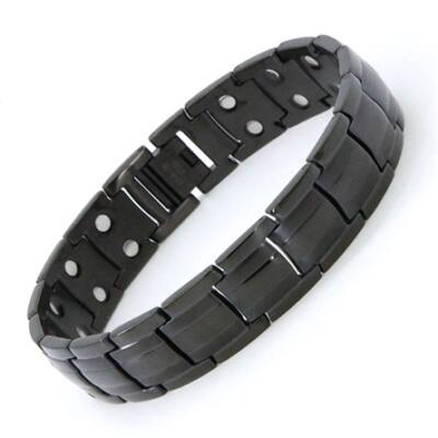 Mens 13 mágneses-turmalinos karkötő fekete L (22 cm)