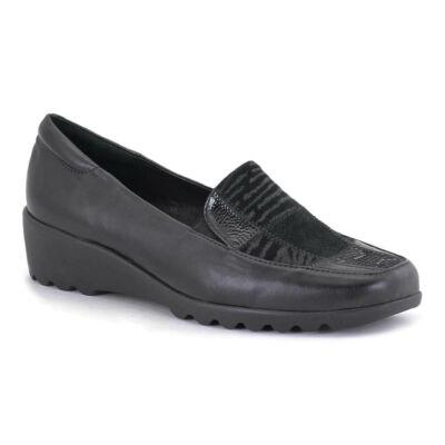 Romika Carree 17 black női kényelmi félcipő bőr felsőrésszel, textil béléssel, kivehető talpbéléssel